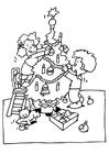 Dibujo para colorear Decorar árbol de navidad