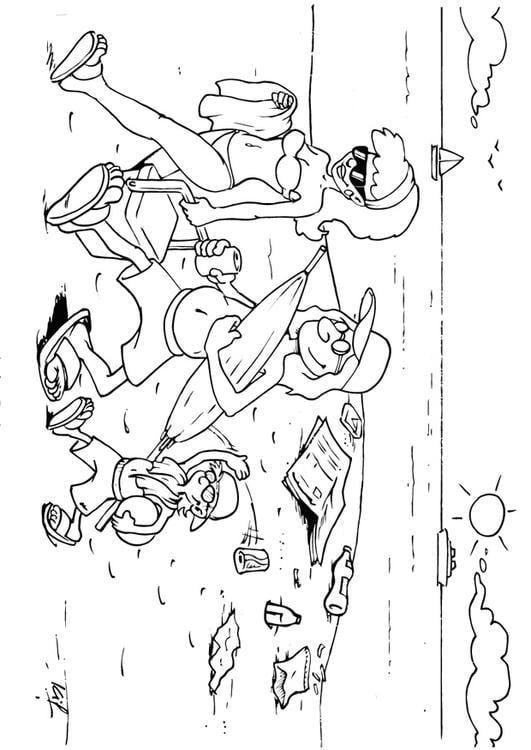 Dibujo para colorear dejar basura en la playa - Img 26982