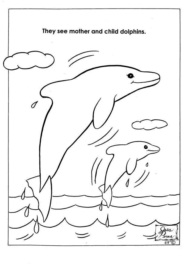 Dibujo Para Colorear Delfines En Parque Natural Img 7944