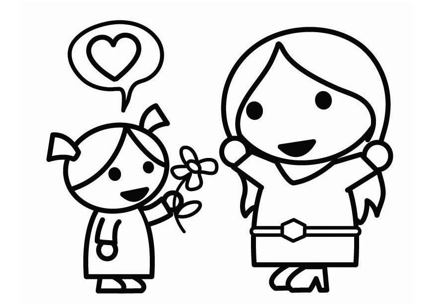 Dibujo para colorear Da de la Madre con hija  Img 26437