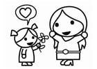 Dibujo para colorear Día de la Madre con hija