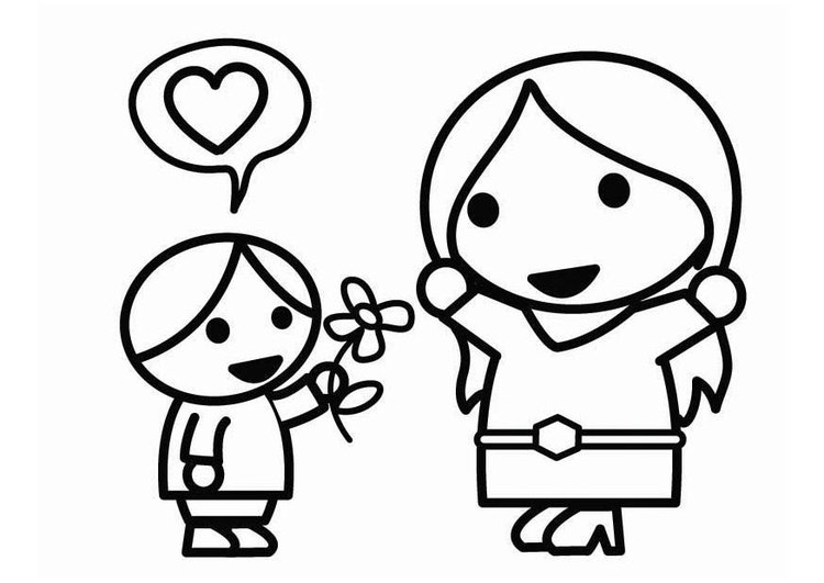 Dibujo para colorear Día de la Madre con hijo - Img 26450