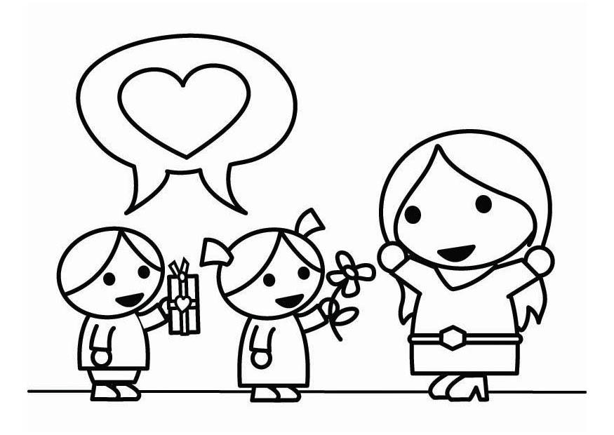 Dibujo Para Colorear Día De La Madre Con Hijos Img 26449