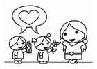 Dibujo para colorear Día de la Madre con hijos