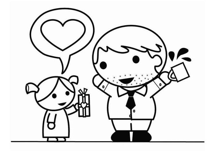 Dibujo Para Colorear Día Del Padre Con Hija Img 26448