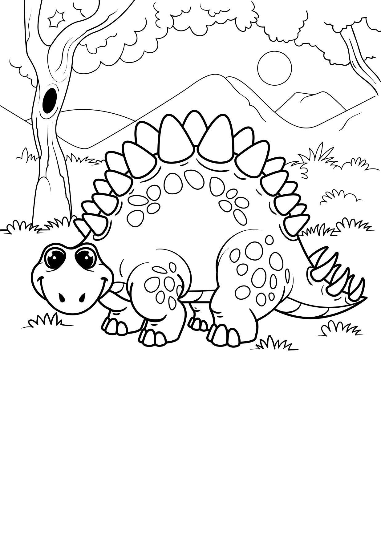 Dibujo Para Colorear Dinosaurio En El Bosque Dibujos Para Imprimir Gratis Dibujo de un dinosaurio glotón para pintar, colorear o imprimir. dibujo para colorear dinosaurio en el