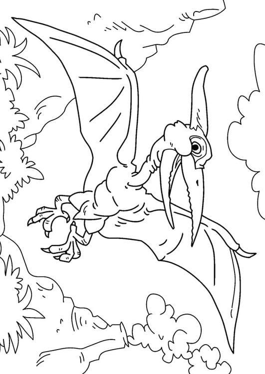 Dibujo para colorear dinosaurio - pteranodon - Img 27628