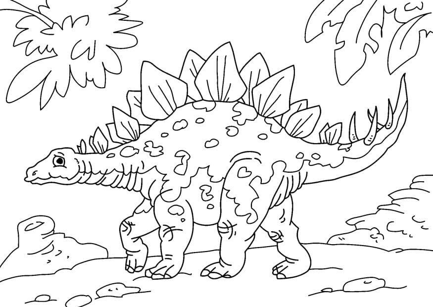 Dibujo para colorear dinosaurio - stegosaurus - Img 27626