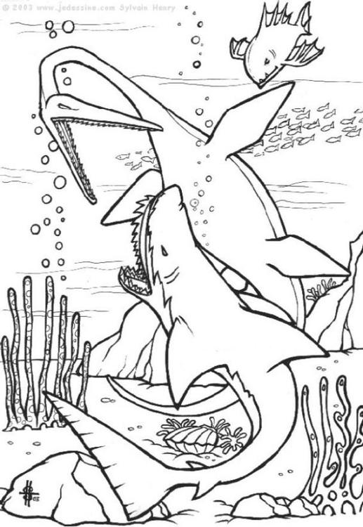 Dibujo para colorear Dinosaurios bajo el agua - Img 6440
