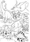 Dibujo para colorear Dinosaurios en paisaje