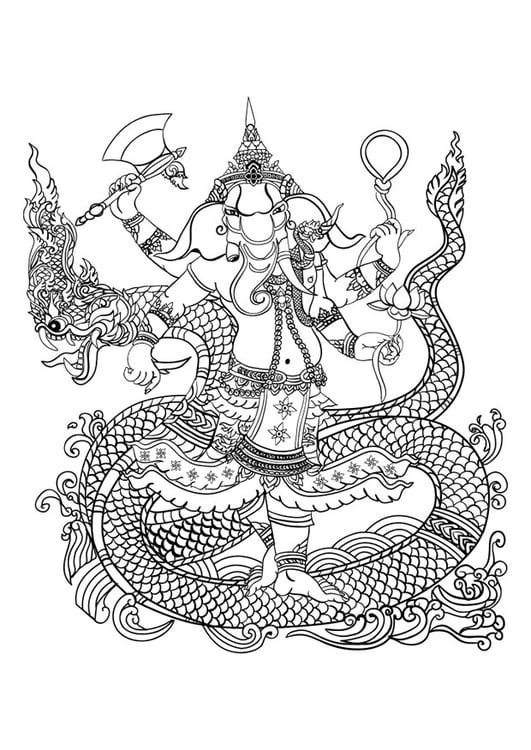Dibujo para colorear dios hindú Ganesha - Img 29734