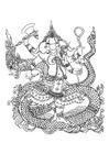 Dibujo para colorear dios hindú Ganesha