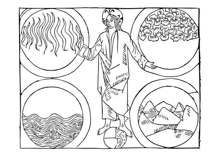 Dibujo para colorear Dios y los 4 elementos - Img 10548