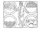 Dibujo para colorear Dios y los 4 elementos