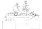 Dibujo para colorear distribución de alimentos