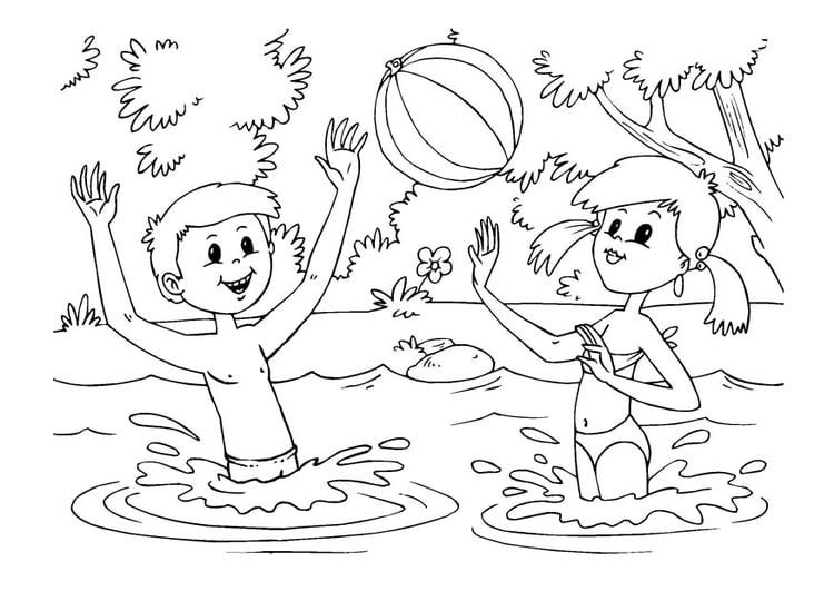 Dibujo para colorear diversión en el agua - Img 22610