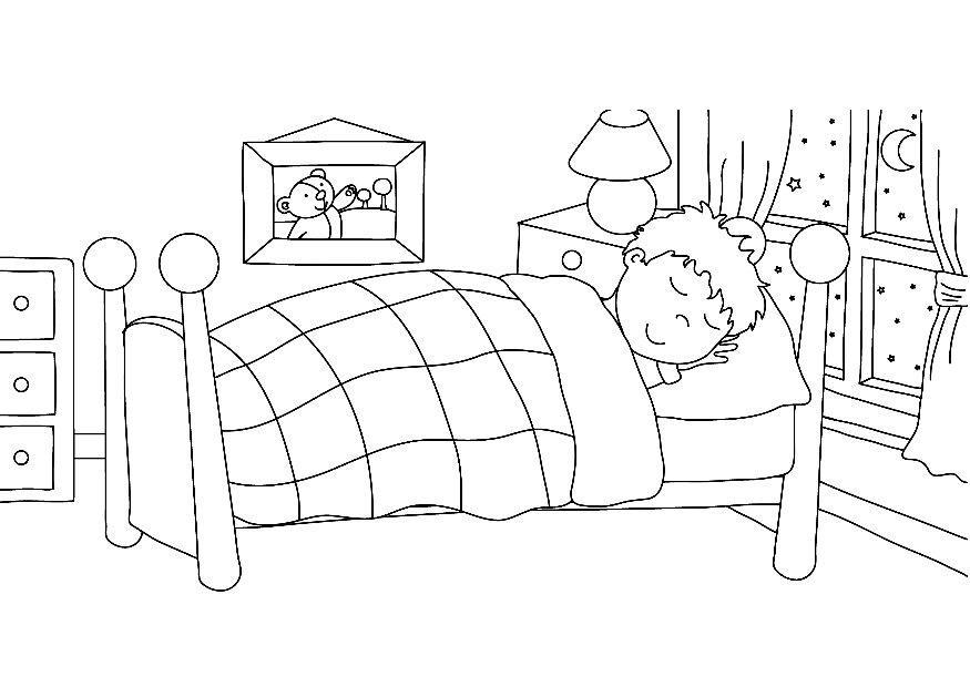 Dibujo para colorear dormir img 7319 for Coloring pages bedroom furniture
