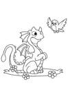 Dibujo para colorear dragón con pájaro