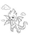 Dibujo para colorear dragón en el cielo