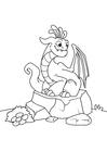 Dibujo para colorear dragón en piedra