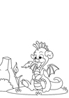 Dibujo para colorear Dragón juega con fuego