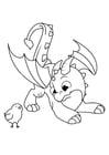 Dibujo para colorear dragón juega con pollito