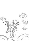 Dibujo para colorear dragón vuela con pájaro