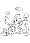 Dibujo para colorear dragón con flor
