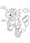 Dibujo para colorear dragón con globos