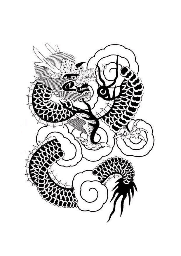 Dibujo para colorear Dragn chino  Img 11052