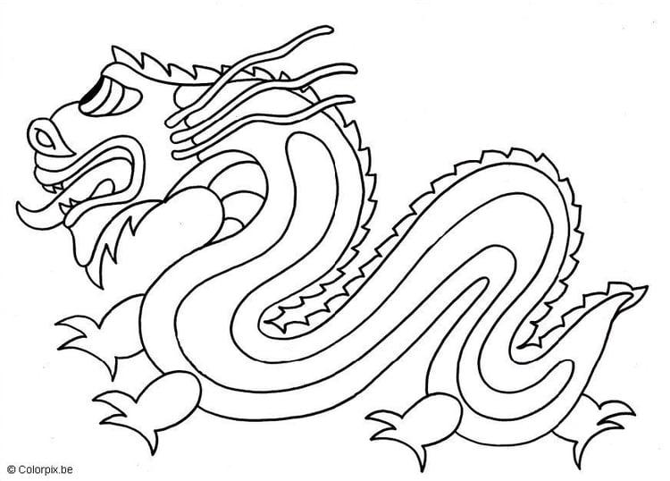 Colorear Dragones Para Para Chino Dibujos Para Colorear De: Dibujo Para Colorear Dragón Chino