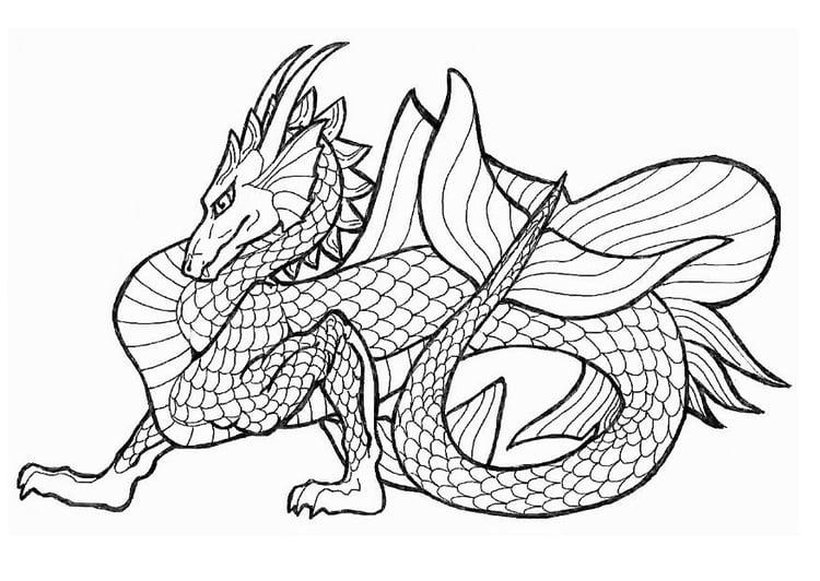 Dibujo para colorear Dragón de mar - Img 7130