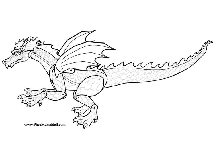 Dibujo para colorear Dragón - Img 8991