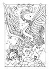 Dibujo para colorear dragón volador