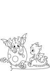 Dibujo para colorear dragones de huevo