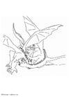 Dibujo para colorear Dragones luchando