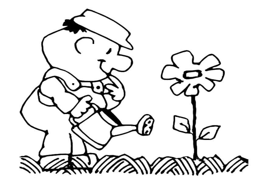 Dibujo para colorear echar agua de las flores  Img 22154