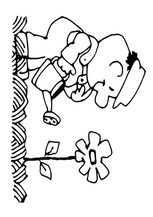 Dibujo para colorear echar agua de las flores - Img 22154