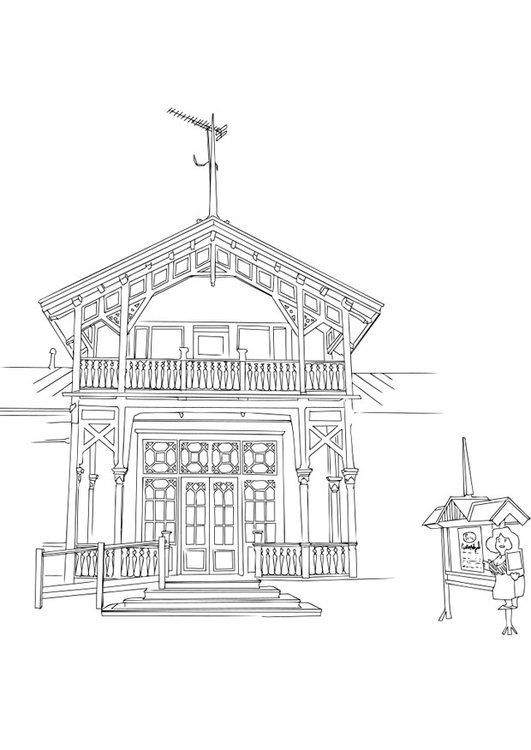 Dibujo para colorear edificio - Img 28701