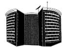 Dibujo para colorear edificio moderno