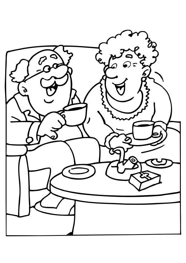 Dibujo para colorear El abuelo y la abuela - Img 6530