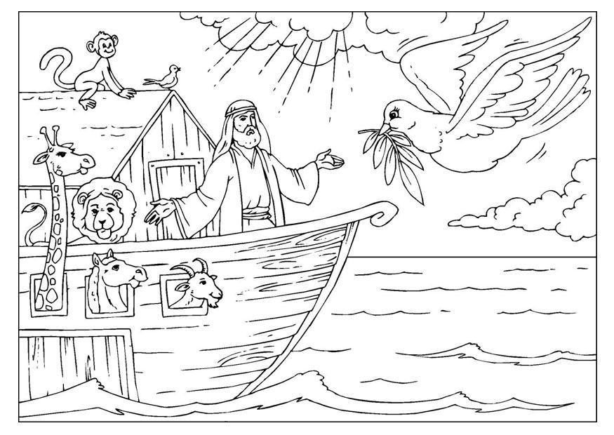 Dibujo para colorear el Arca de No  Img 25955