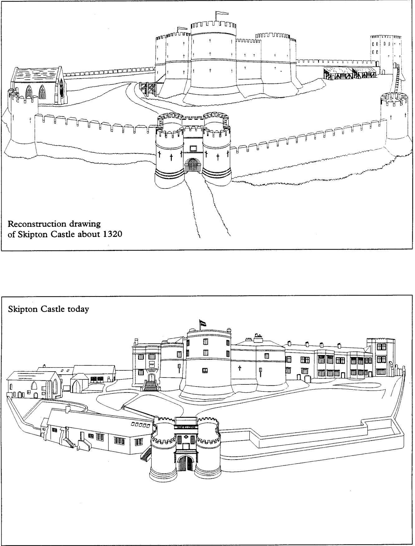 Dibujo para colorear El castillo en 1320 y en castillo hoy - Img 14901