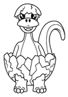 Dibujo para colorear el dinosaurio nace del huevo