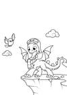 Dibujo para colorear el dragón va a volar