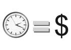 Dibujo para colorear el tiempo es dinero