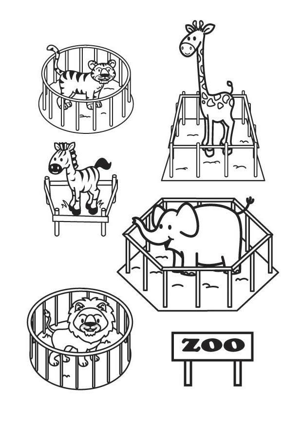 Dorable Página Para Colorear De Zoo Composición - Dibujos Para ...