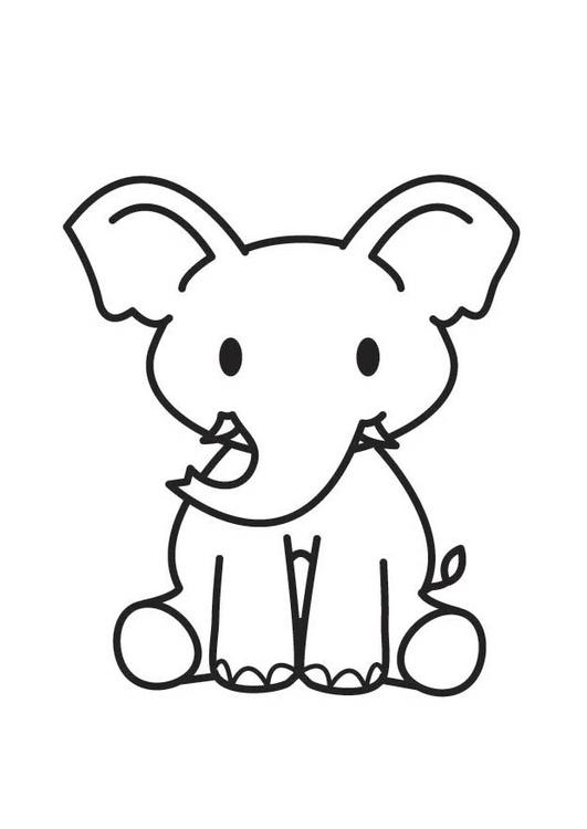 Dibujo para colorear elefante - Img 17906