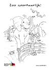 Dibujo para colorear elefante en el zoo