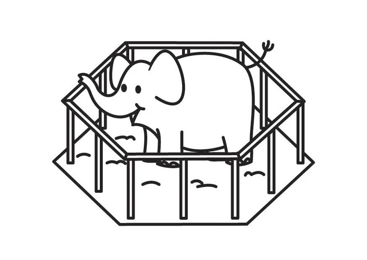 Dibujo para colorear elefante en jaula - Img 17707